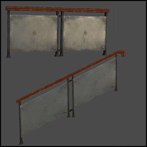 Xframe Metal Railing - 3DOcean Item for Sale