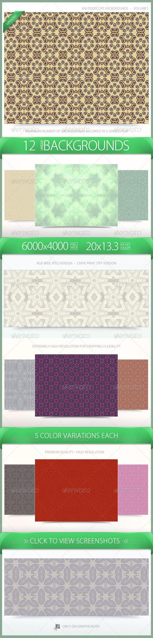 Kaleidoscope Pattern Backgrounds Volume 1