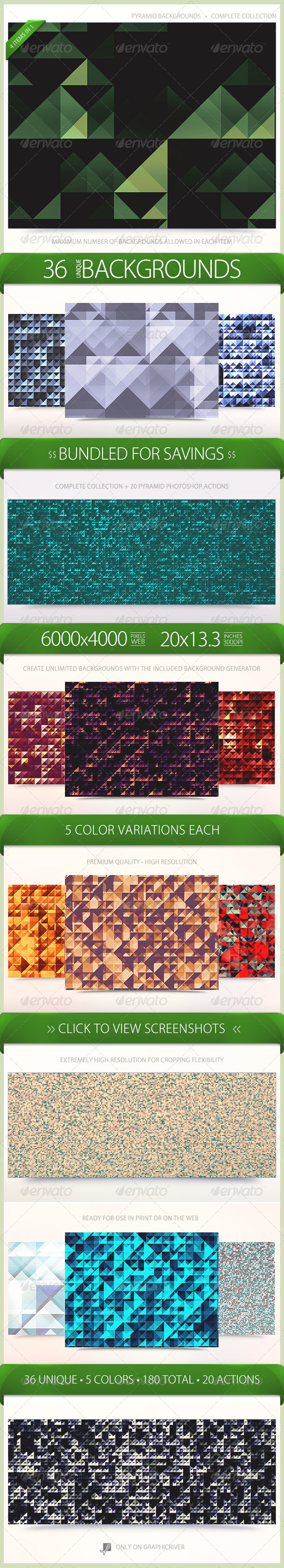 Pyramid Backgrounds Bundle - Patterns Backgrounds