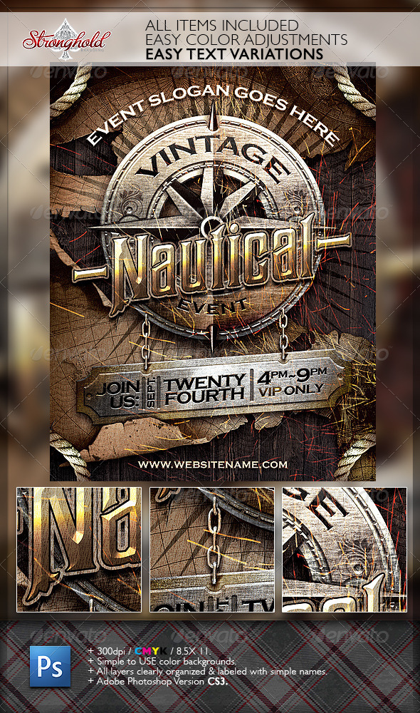 GraphicRiver Vintage Nautical Travel Flyer Template 6739337