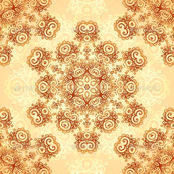 GraphicRiver Ornate Vintage Seamless Pattern in Mehndi Style 6739913