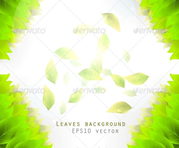 GraphicRiver Green Leaves Background 6740093