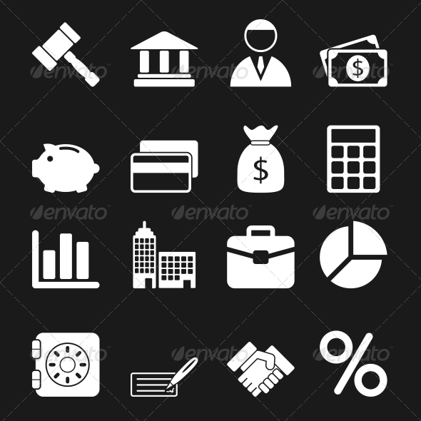 GraphicRiver White Business Icons Set 6740524