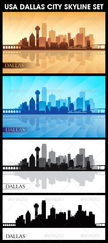 GraphicRiver Dallas USA City Skyline Silhouettes Set 6740872
