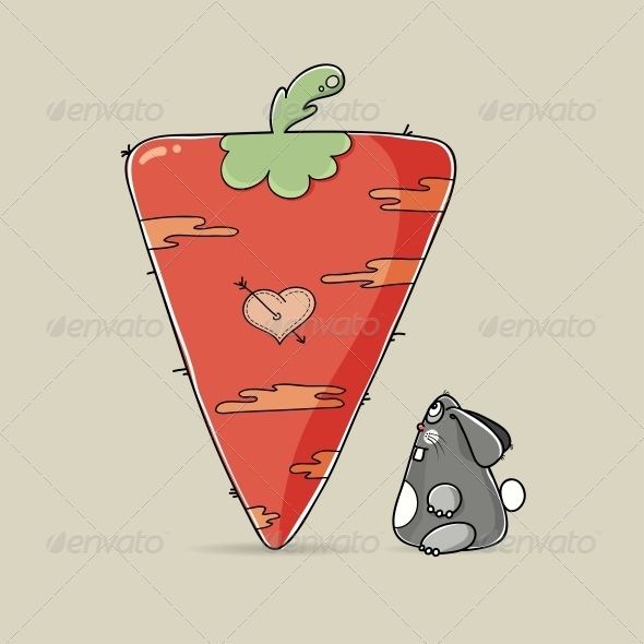 GraphicRiver Valentine Rabbit Looking at Big Carrot 6741323