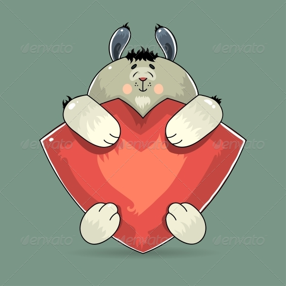 GraphicRiver Valentine Rabbit Hugging a Red Heart 6741332