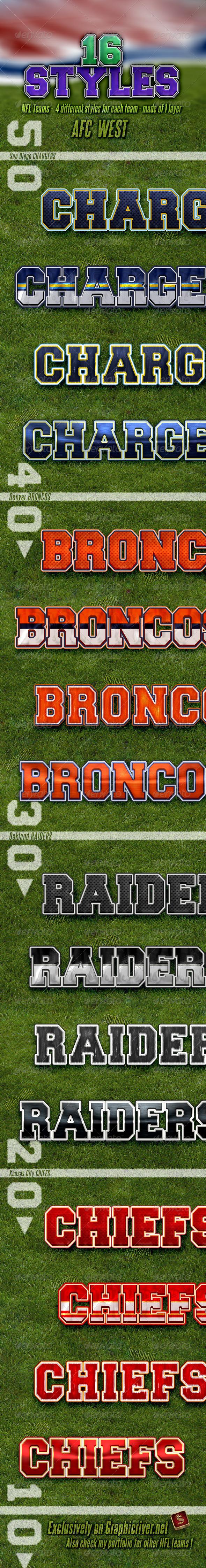 NFL Football Styles - AFC West - Styles Photoshop