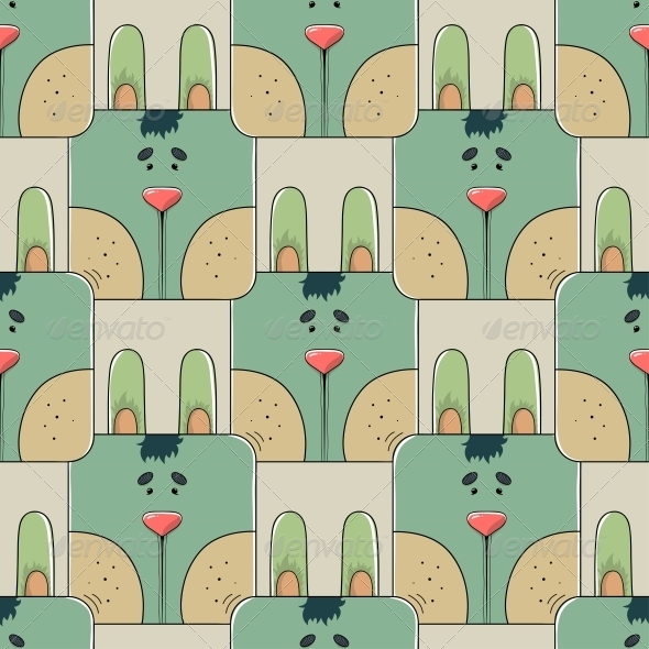 GraphicRiver Seamless Pattern the Face of a Rabbit 6741335