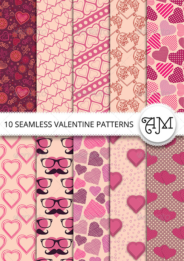 GraphicRiver 10 Vector Seamless Valentine Patterns 6741528