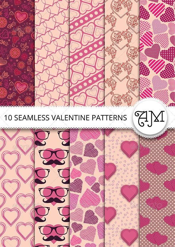 GraphicRiver 10 Vector Seamless Valentine Patterns 6741528