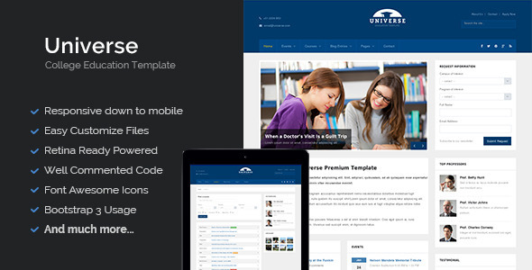 Universe - Education College Responsive Template - Business Corporate