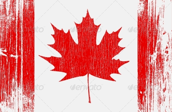 Canadian Flag on Wood