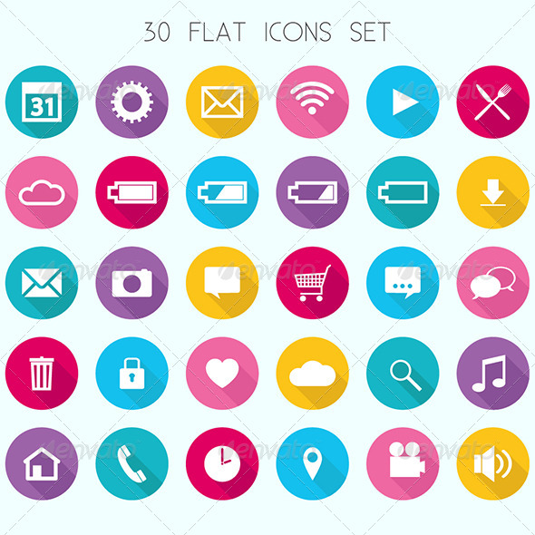 GraphicRiver Flat Icons Set 6741939