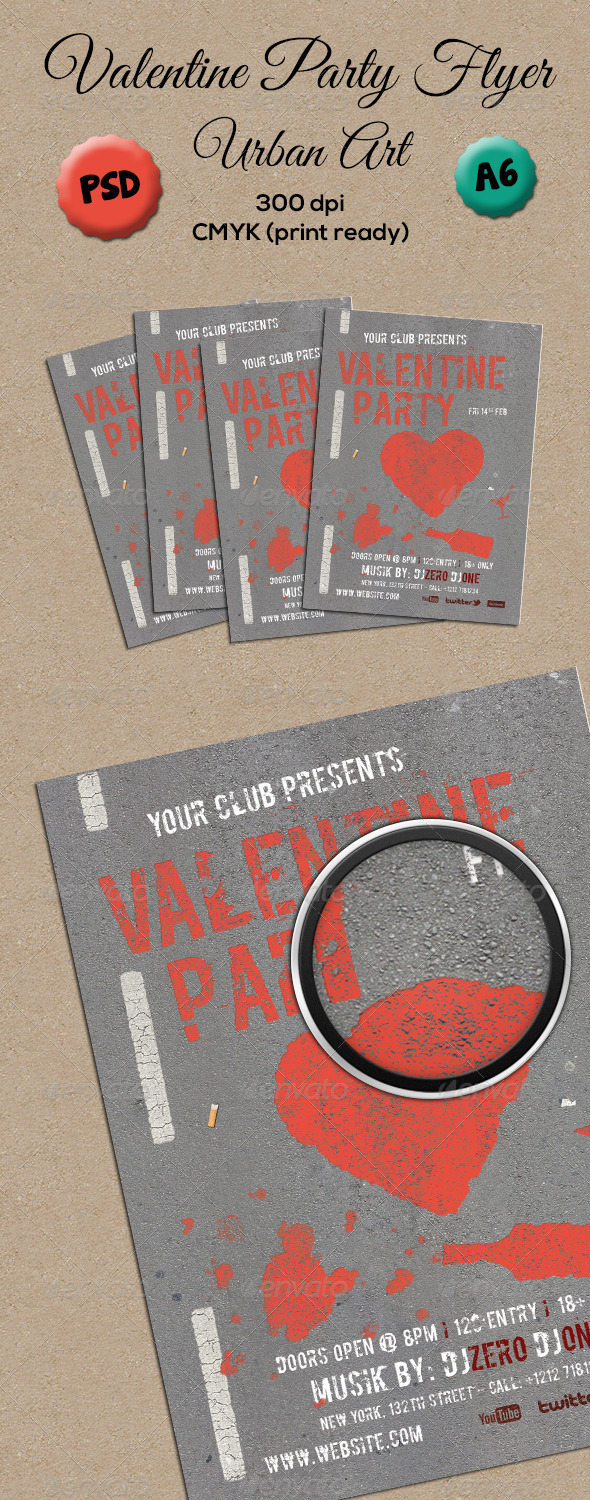 GraphicRiver Valentine Party Flyer A6 6732192
