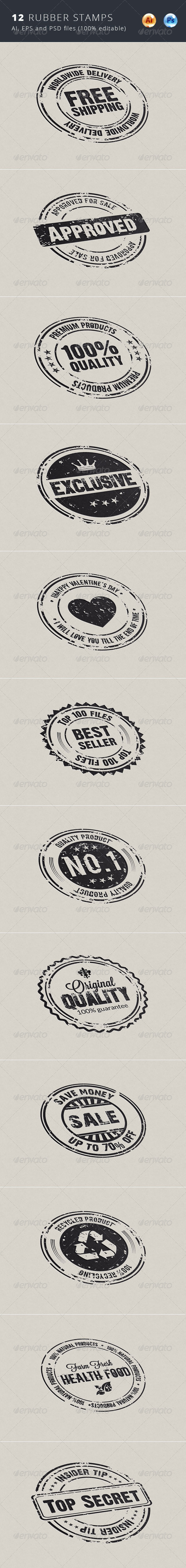 GraphicRiver 12 Rubber Stamps 6742070