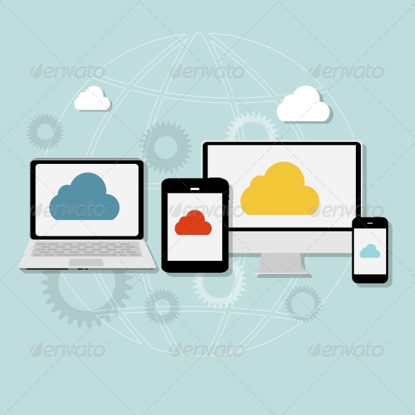 GraphicRiver Cloud Computing Concept on Different Devices 6742273