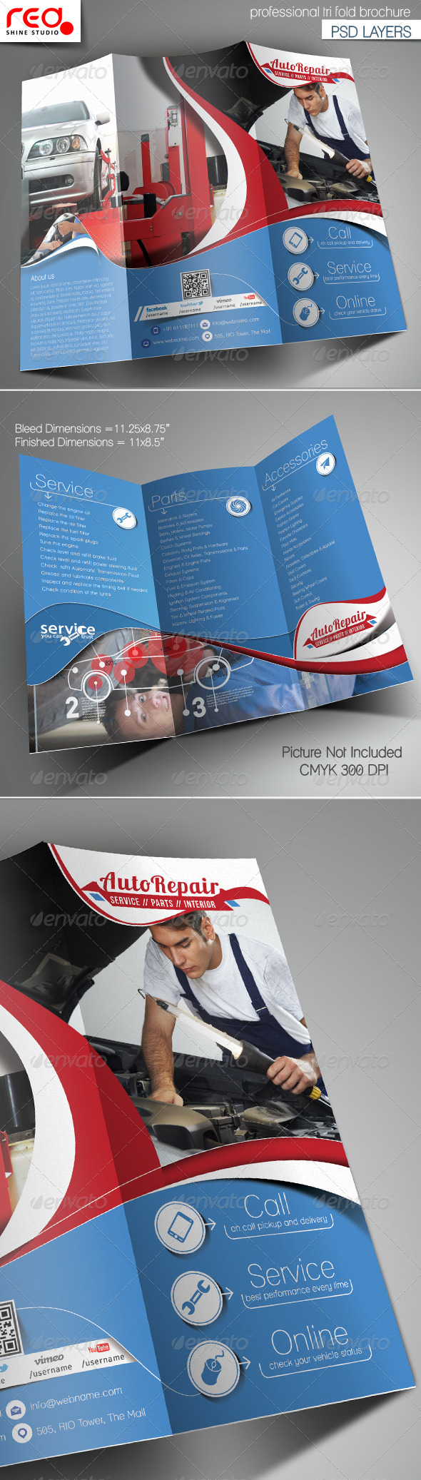 GraphicRiver Auto Repair Trifold Brochure Template 6742737