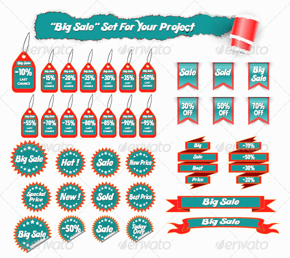 GraphicRiver Big Sale Set of Stickers and Tags 6731544