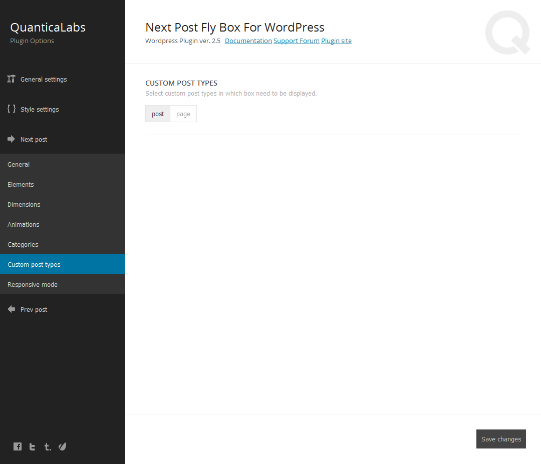 QuanticaLabs Plugin Options Next Post Fly Box For Word Press Wordpress Plugin ver. 2.5 Documentation Support Forum Plugin site General settings Style settings CUSTOM POST TYPES post page Next post General Elements Dimensions Animations Categories Responsive mode Prey post Save changes