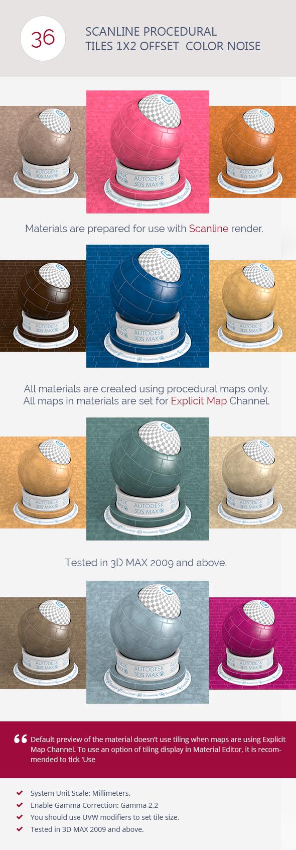 3DOcean Scanline Procedural Tiles 1x2 Offset Color Noise 6744480