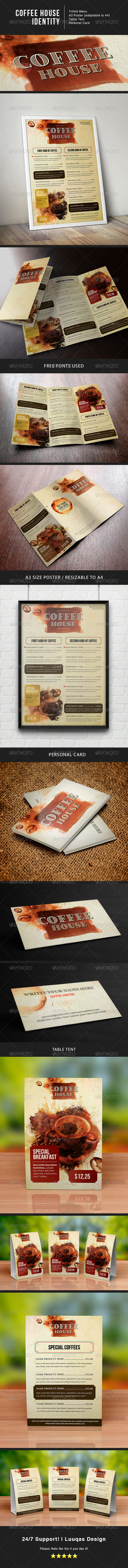 Coffee House Identity - Food Menus Print Templates