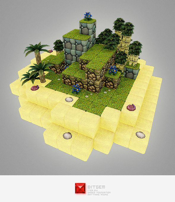 3DOcean Low Poly Cube World Level Building Set 6744600