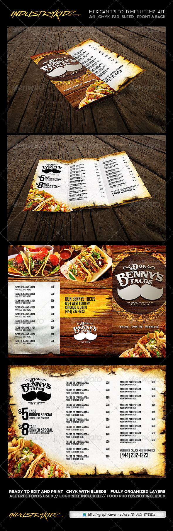 GraphicRiver Trifold Mexican Menu Template 6745168