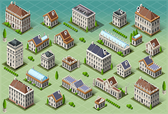 GraphicRiver Set of Isometric European Buildings 6745196