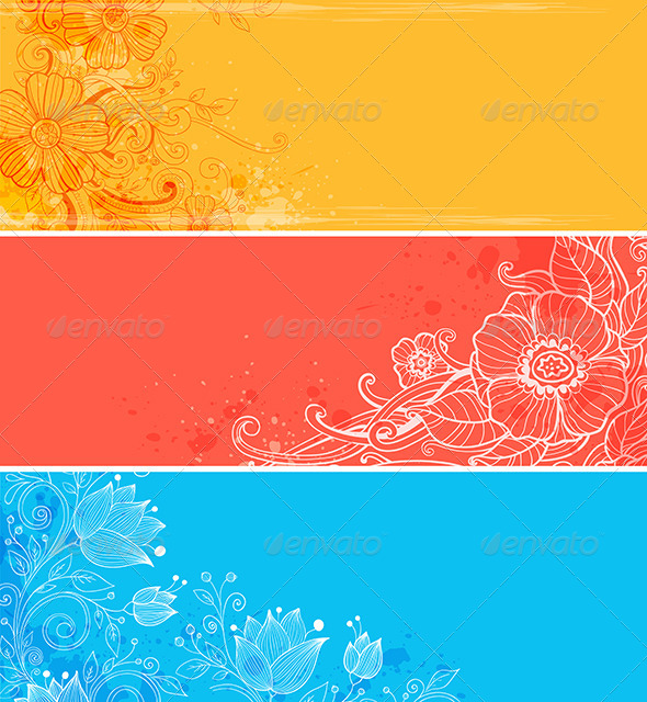 GraphicRiver Horizontal Banners with Flowers 6745417