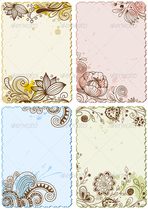 GraphicRiver Hand Drawn Floral Cards 6745631