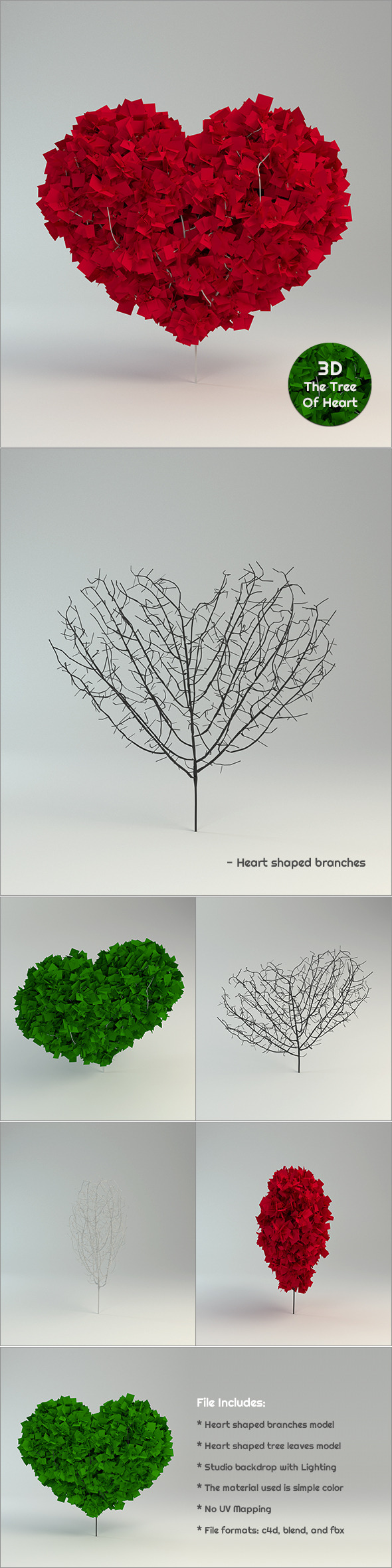 The Tree Of Heart in 3D - 3DOcean Item for Sale