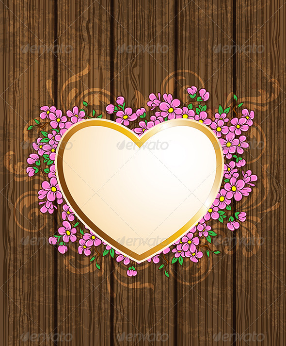 GraphicRiver Heart and Pink Flowers 6745777