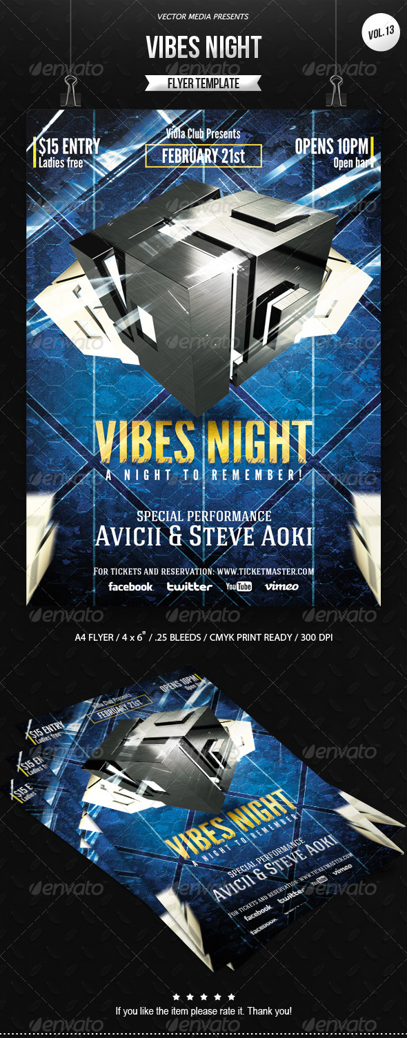 GraphicRiver Vibes Night Flyer [Vol.13] 6745982