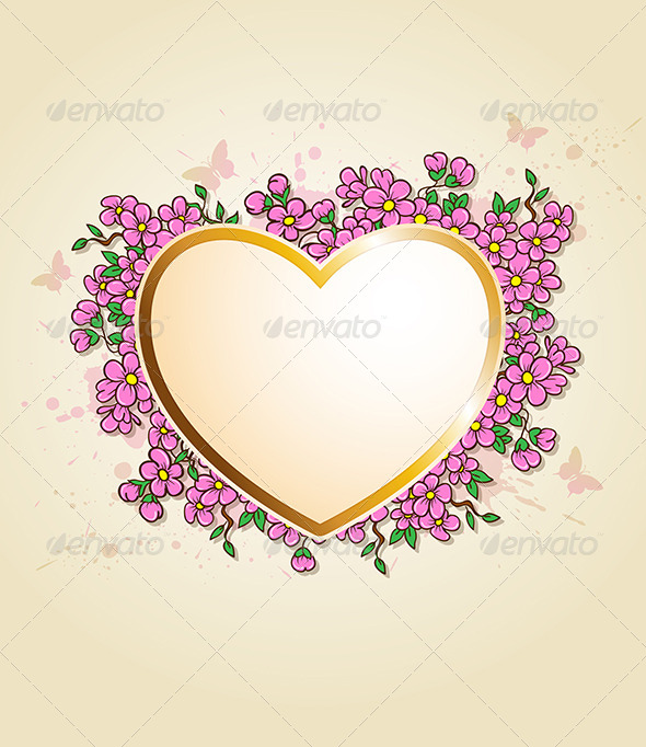 GraphicRiver Card with Heart and Pink Flowers 6746021