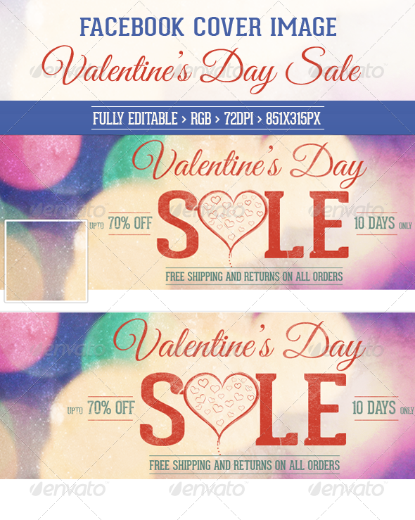 Valentine's Day Sale Facebook Cover Image