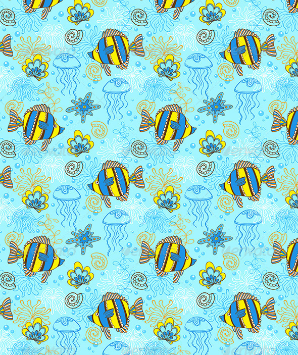 GraphicRiver Pattern with Fishes and Shells 6746054