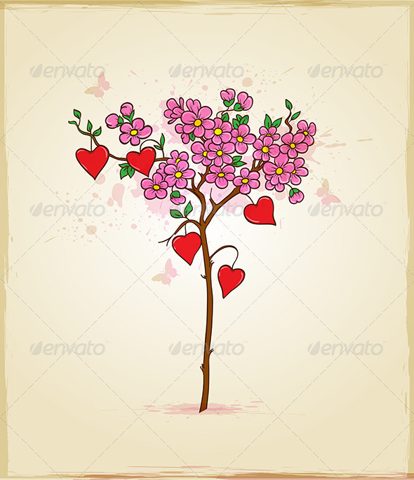 GraphicRiver Tree with Flowers and Hearts 6746107