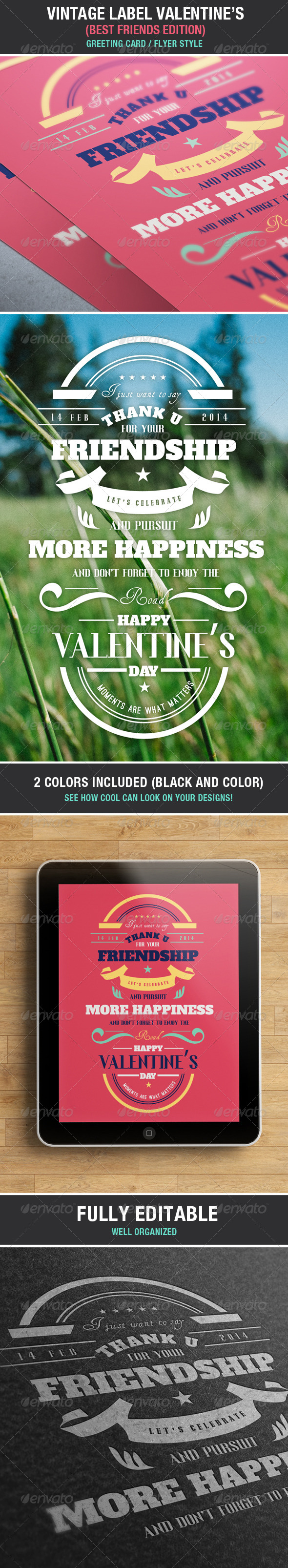 GraphicRiver Vintage Label Friends & Love Valentine s Edition 6746429