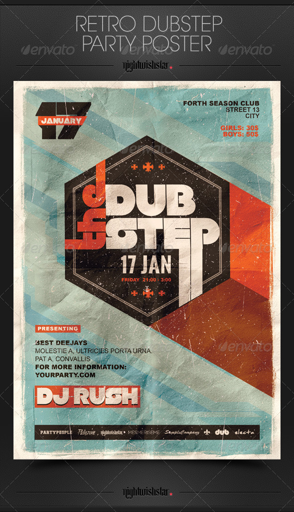 GraphicRiver Retro Dubstep Party Flyer Poster 6746635