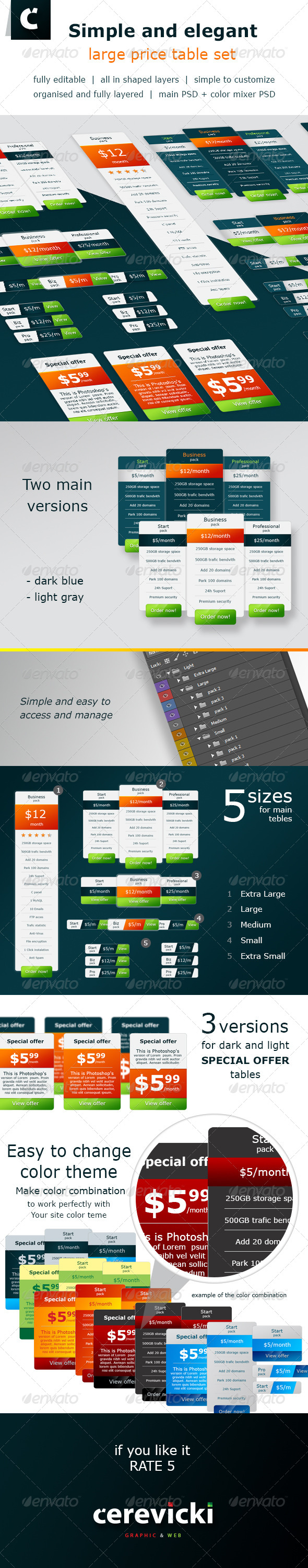 GraphicRiver Simple and elegant large price table set 6694637