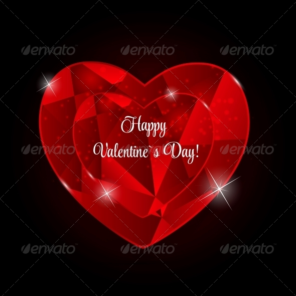 GraphicRiver Happy Valentines Day Card with Heart Vector Illustration 6747074