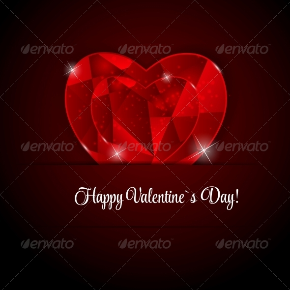 GraphicRiver Happy Valentines Day Card with Heart Vector Illustration 6747080