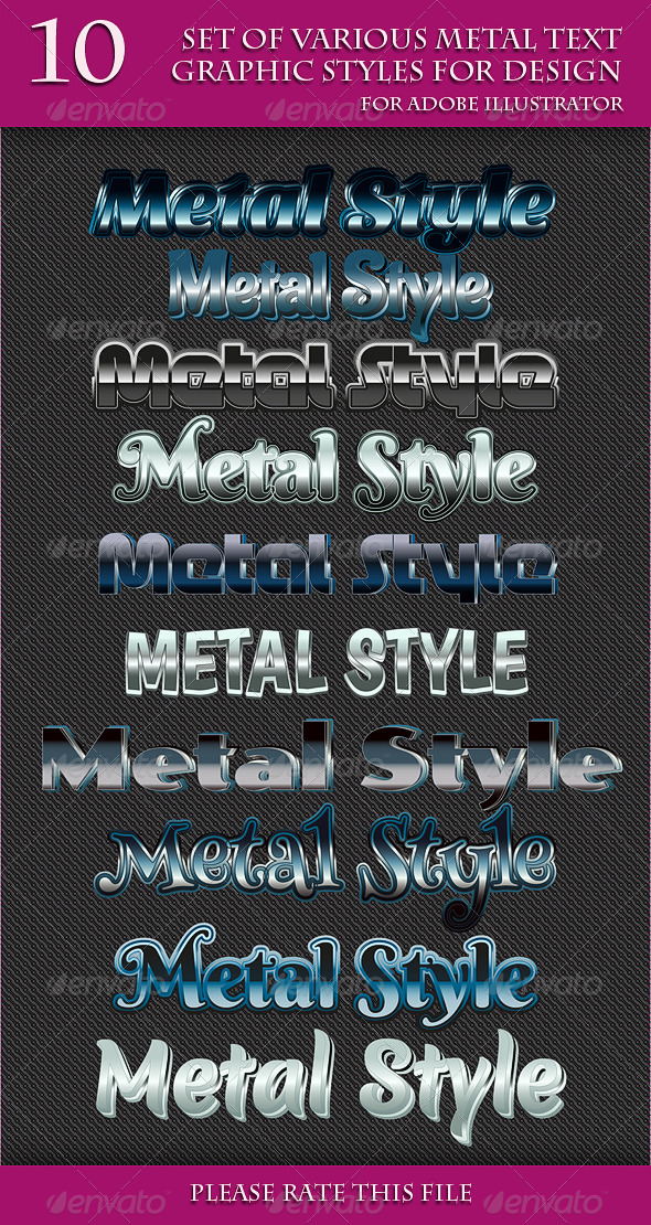 GraphicRiver Set of Various Metal Text Graphic Styles 6747133