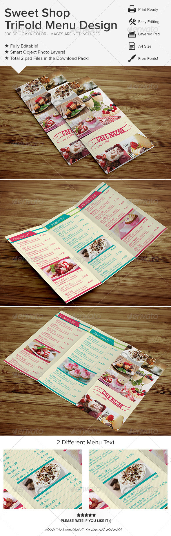 GraphicRiver Sweet Shop Trifold Menu Design 6747188