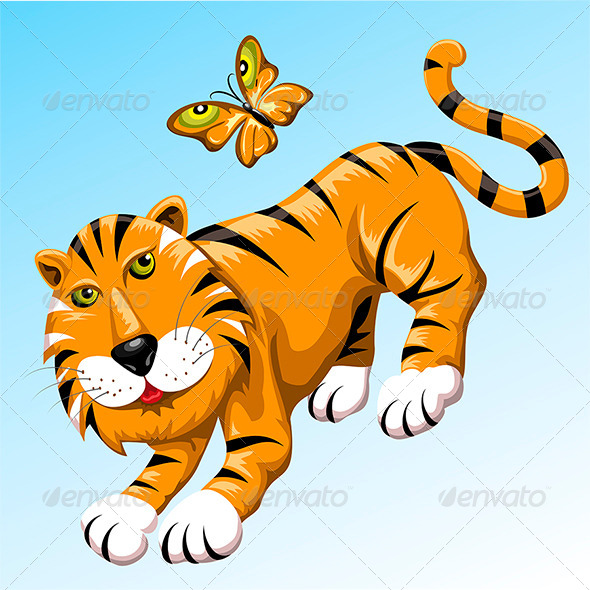 GraphicRiver Tiger and Butterfly 6747275
