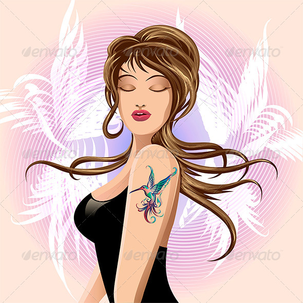 GraphicRiver Hummingbird Tattoo 6747331
