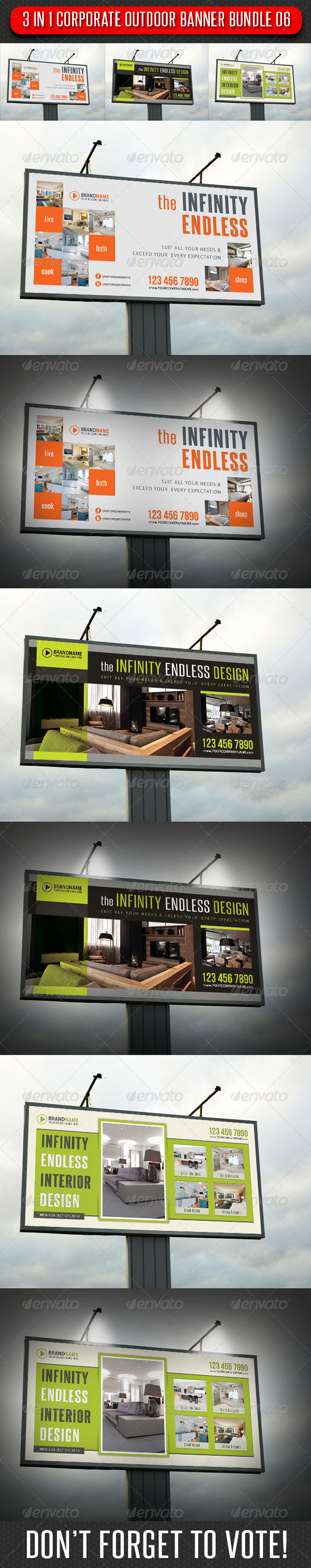 GraphicRiver 3 in 1 Corporate Outdoor Banner Bundle 06 6747567