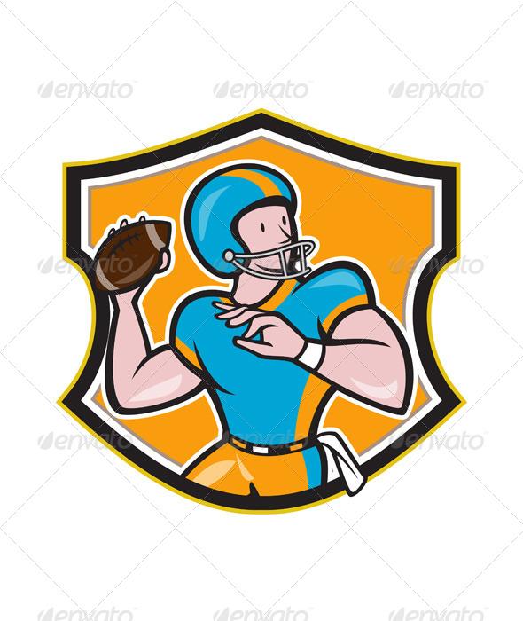 GraphicRiver American Football Quarterback Throw Shield Cartoon 6747704