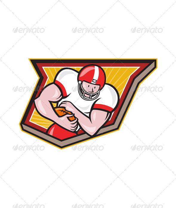 GraphicRiver American Football Running Back Run Shield Cartoon 6747712