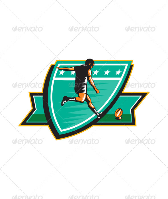 GraphicRiver Rugby Player Kicking Ball Shield Retro 6747735